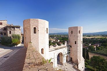 Porto Venere gate and Torri di Properzio Tower, Spello, Perugia District, Umbria, Italy, Europe
