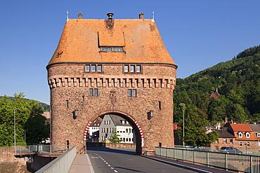 Bridge Gate on a bridge over the Main River, Miltenberg, Franconia, Bavaria, Germany, Europe