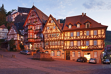 Market Square with half-timbered houses and Mildenburg Castle, old town of Miltenberg, Franconia, Bavaria, Germany, Europe
