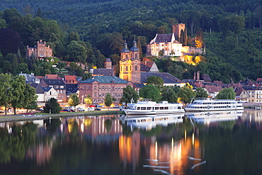 Mildenburg Castle and Parish Church of St. Jakobus, excursion boats on Main River, old town of Miltenberg, Franconia, Bavaria, Germany, Europe