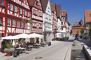 Half-timbered houses, Town Hall, Ochsenfurt, Mainfranken, Lower Franconia, Bavaria, Germany, Europe