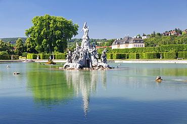 Laeuterungssee Sea, Schloss Veitshoechheim Castle, Roccoco garden, Veitshoechheim, Mainfranken, Lower Franconia, Bavaria, Germany, Europe