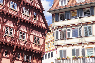 Old Town Hall, half-timbered houses, Esslingen, Baden-Wurttemberg, Germany, Europe