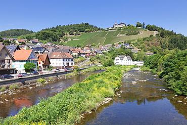 Eberstein Castle reflecting in Murg River, Obertsrot near Gernsbach, Murgtal Valley, Black Forest, Baden Wurttemberg, Germany, Europe