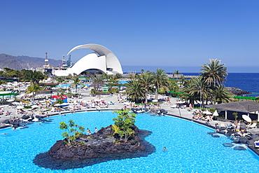 Parque Maritimo by Cesar Manrique and Auditorium by Santiago Calatrava, Santa Cruz, Tenerife, Canary Islands, Spain, Europe