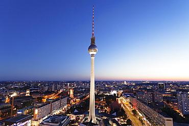 View from Hotel Park Inn over Alexanderplatz Square, Berliner Fernsehturm TV Tower, Berlin Mitte, Berlin, Germany, Europe