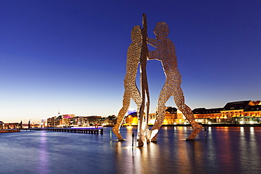 Molecule Man by Jonathan Borofsky, Spree River, Oberbaum Brdige, TV Tower, Treptow, Berlin, Germany, Europe