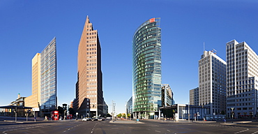 Potsdamer Platz Square with DB Tower, Sony Center and Kollhoff Turm Tower, Berlin Mitte, Berlin, Germany, Europe
