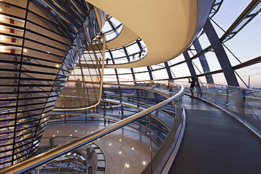 The Dome by Norman Foster, Reichstag Parliament Building at sunset, Mitte, Berlin, Germany, Europe