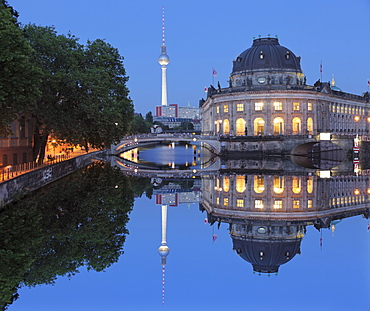 Bode Museum and TV Tower reflecting on Spree River, Museum Island, UNESCO World Heritage Site, Mitte, Berlin, Germany, Europe