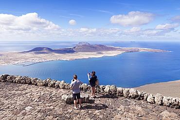 View from Mirador del Rio to La Graciosa Island, by Cesar Manrique, Lanzarote,Canary Islands, Spain, Atlantic, Europe