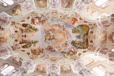 Ceiling frecso, St. Peter and Paul church, Steinhausen, Upper Swabian Baroque Route, Upper Swabia, Baden-Wurttemberg, Germany, Europe