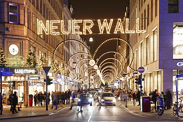 Neuer Wall street with Christmas decoration, Hamburg, Hanseatic City, Germany, Europe