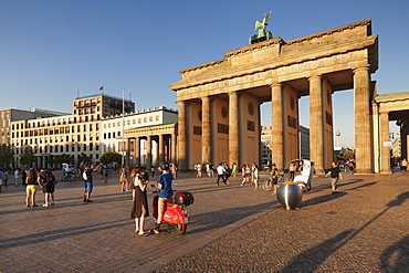 Brandenburg Gate (Brandenburger Tor) at sunset, Platz des 18 Marz, TV Tower, Berlin Mitte, Berlin, Germany, Europe