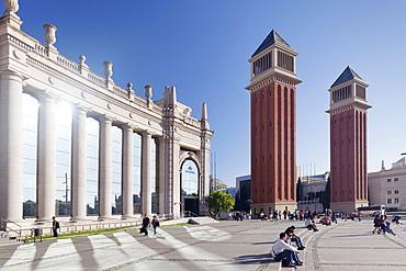 Two Venetian Towers, Placa d'Espanya (Placa de Espana), Barcelona, Catalonia, Spain, Europe