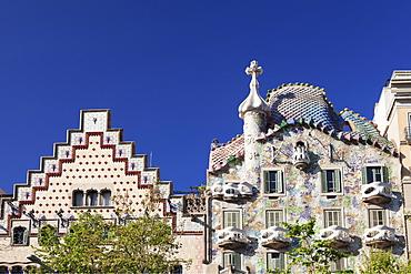 Casa Batllo, architect Antonio Gaudi, UNESCO World Heritage Site, Casa Amatller, Modernisme, Barcelona, Catalonia, Spain, Europe