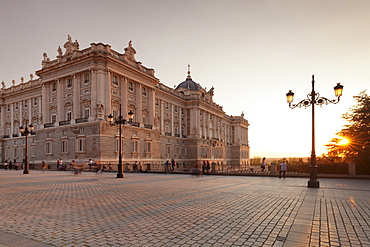 Royal Palace (Palacio Real) at sunset, Madrid, Spain, Europe