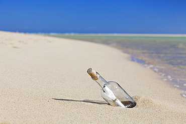 Message in a bottle at the beach of Risco del Paso, Fuerteventura, Canary Islands, Spain, Atlantic, Europe