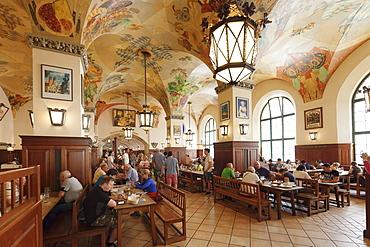 Historic Beer Hall called Schwemme at Hofbraeuhaus, Munich, Bavaria, Germany, Europe