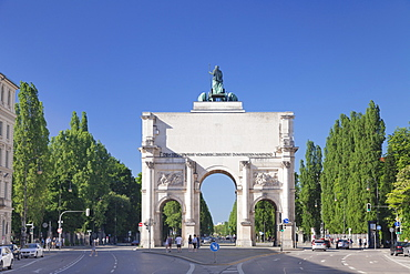 Siegestor Gate, Ludwigstrasse street, Munich, Bavaria, Germany, Europe