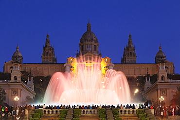 Font Magica (Magic Fountain) at Palau Nacional (Museu Nacional d'Art de Catalunya), Montjuic, Barcelona, Catalonia, Spain, Europe