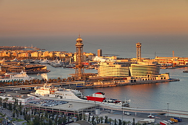 View from Montjuic to Port Vell with World Trade Center at Port Vell and Torre de Sant Jaume I , Barcelona, Catalonia, Spain, Europe