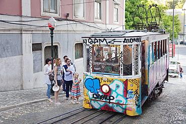 Elevador da Gloria, funicular connects downtown with Bairro Alto district, Lisbon, Portugal, Europe