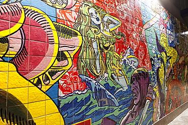Azulejos art, metro station Oriente, Lisbon, Portugal, Europe