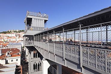 Elevador de Santa Justa, Santa Justa Elevator, Baixa, Lisbon, Portugal, Europe