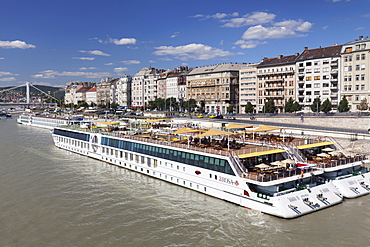 River cruise ships on Danube River, Pest, Budapest, Hungary, Europe