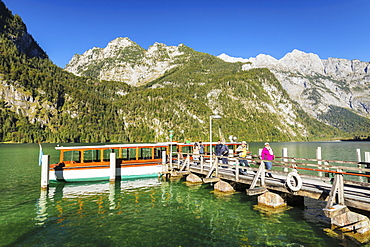 Landing stage at Saletalm Alp on Lake Koenigssee, Watzmann Mountain, Berchtesgadener Land, Berchtesgaden National Park, Upper Bavaria, Bavaria, Germany, Europe
