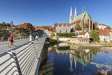 Bridge over Neisse River to the old town and St. Peter and Paul Church, Goerlitz, Saxony, Germany, Europe