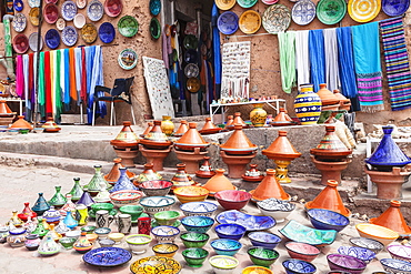 Pottery and handicrafts in the Artisans Souk, Ouarzazate, Morocco, North Africa, Africa