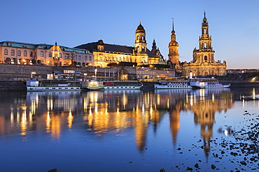 Elbe River with Staendehaus (House of Estates), Hofkirche Church, and Castle, Dresden, Saxony, Germany, Europe
