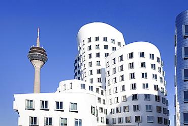 Neuer Zollhof, designed by Frank Gehry, and Rheinturm tower, Media Harbour (Medienhafen), Dusseldorf, North Rhine Westphalia, Germany, Europe