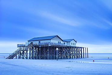 Stilt house on a beach, Sankt Peter Ording, Eiderstedt Peninsula, Schleswig Holstein, Germany, Europe