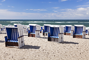 Beach chairs on the beach of Westerland, Sylt, North Frisian islands, Nordfriesland, Schleswig Holstein, Germany, Europe