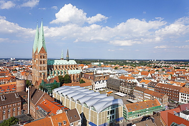 View of town hall and Marien Church, Lubeck, Schleswig Holstein, Germany, Europe