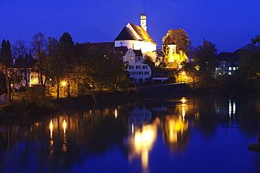 Heilig Geist Spital chapel on Lech River, Fussen, Ostallgau, Allgau, Allgau Alps, Bavaria, Germany, Europe