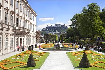Mirabell Garden and Hohensalzberg Fortress, UNESCO World Heritage Site, Salzburg, Salzburger Land, Austria, Europe