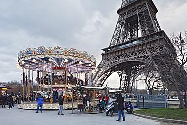 Carousel with Eiffel Tower, Paris, Ile de France, France, Europe