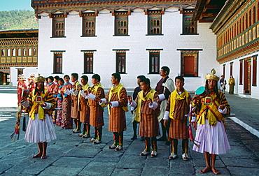 Royal palace processional musicians at |Tashichho Dzong,Thimpu, Bhutan