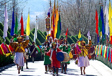 Musicians lead royal procession to King's palace, Tashichho Dzong, Thimpu, Bhutan