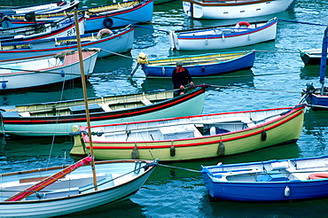 Man at work on colourful fishing boats in the harbour at Coverack in Cornwall, England