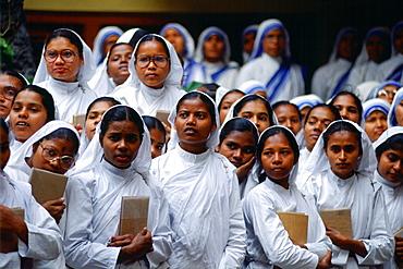 Novice nuns at Mother Teresa's Mission in Calcutta, India