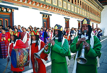 Musicians of the royal procession in Tashichho Dzong in Thimpu, the capital of Bhutan