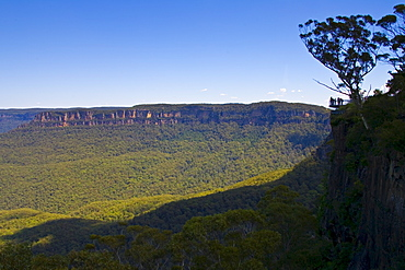 Tourists near Echo Point within Blue Mountains National Park, New South Wales, Australia.