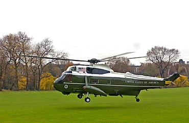 President George W Bush with his wife Laura leaving by helicopter after his official visit to Britain