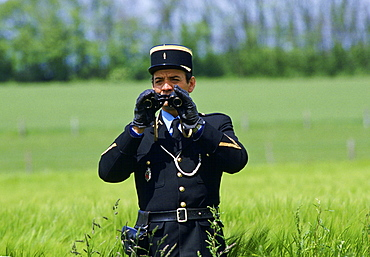French gendarme police officer on security duty during Normandy celebrations, France