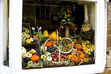 Greengrocery window display, Gloucestershire, United Kingdom